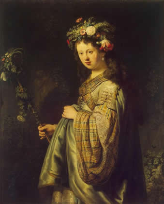 saskia_rembrandt-as-goddess_flora-1634.jpg: Click on image to see full size