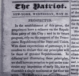 The New York Patriot newspaper, prospectus