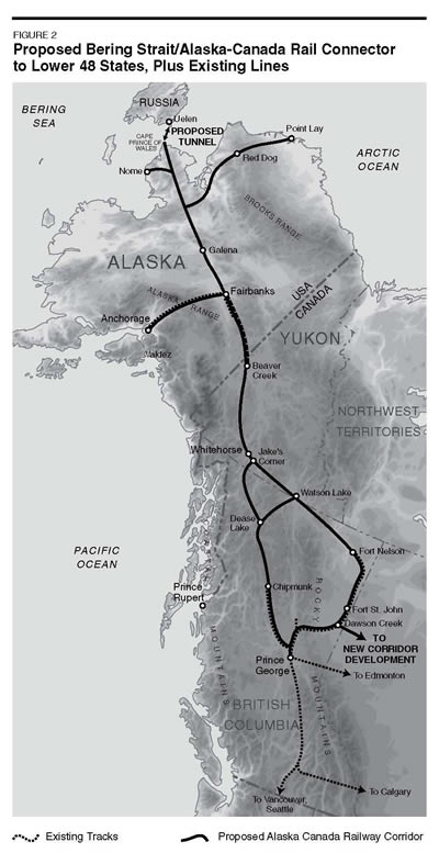 Map of rail route from Bering Strait to lower 48 states