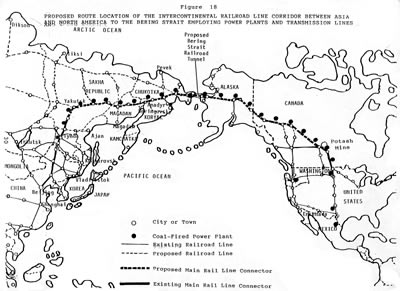 Railroad line, Asia to U.S., with power plants