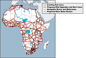 Small color map of existing and proposed railways and water projects in Africa