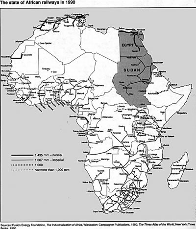 Map of African railways in 1990