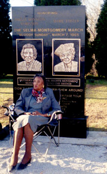 Amelia at her monument in Selma, Alabama