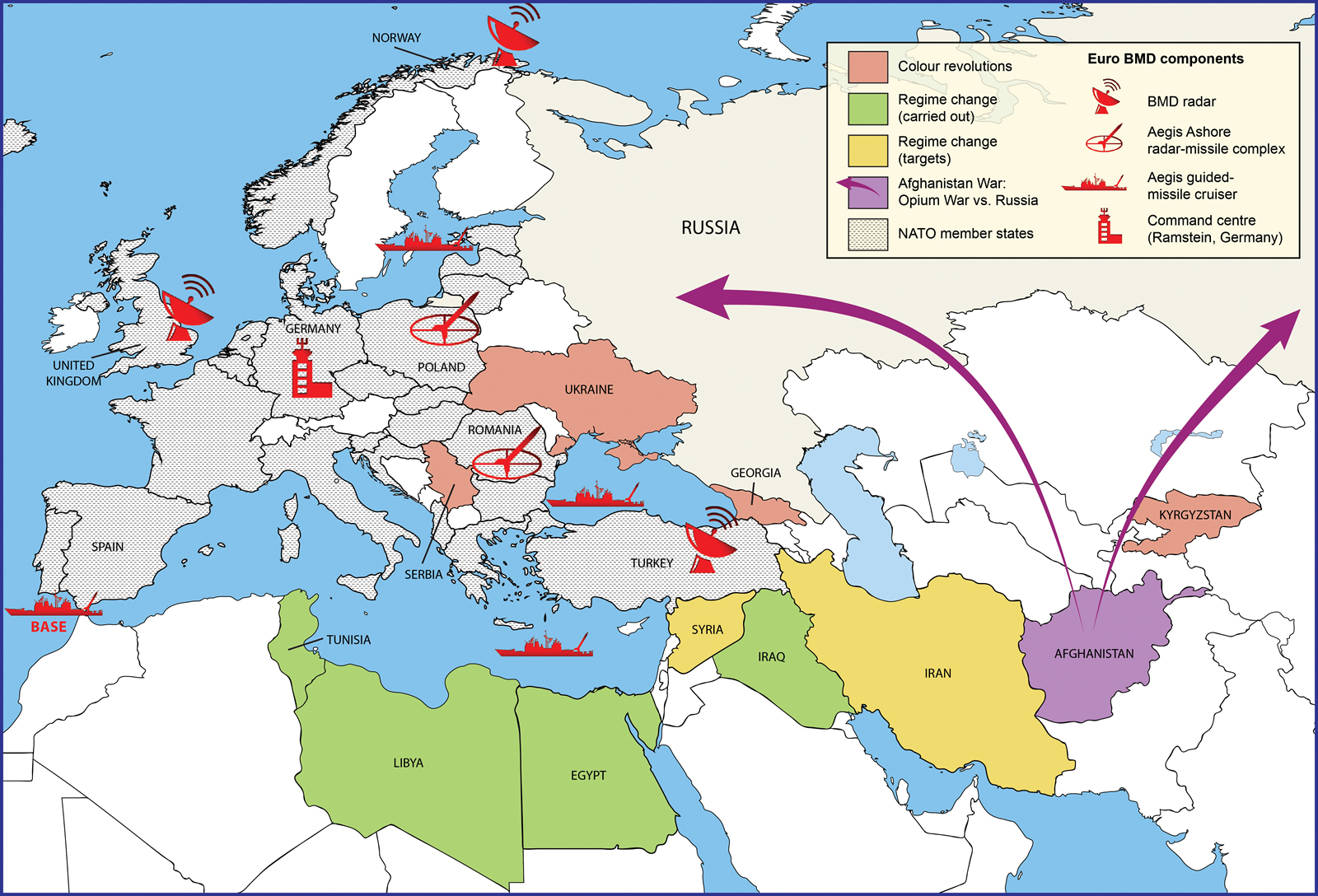Strategic Maps Anglo American Encirclement Of Russia And China